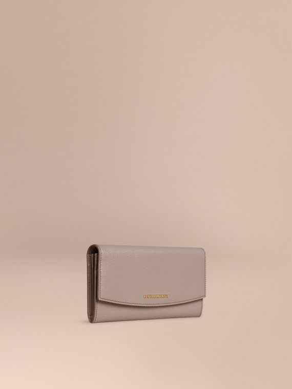 Patent London Leather Continental Wallet Pale Grey