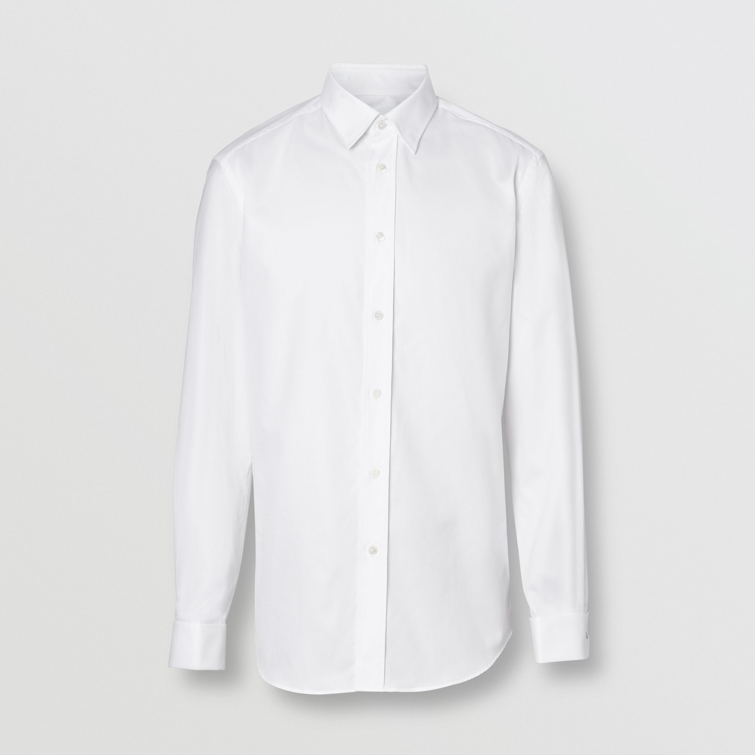 Classic Fit Monogram Motif Cotton Oxford Shirt in White - Men | Burberry - 4