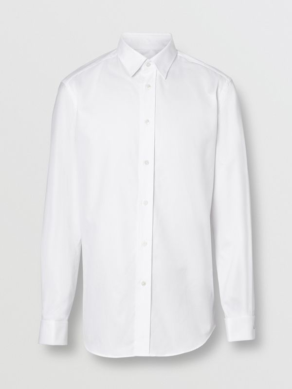 Classic Fit Monogram Motif Cotton Oxford Shirt in White - Men | Burberry Canada - cell image 3