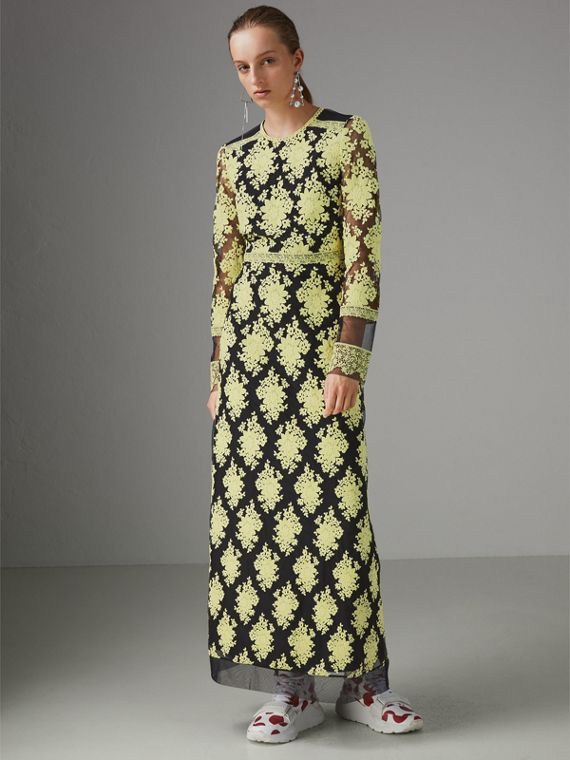 Floral-embroidered Long-sleeve Dress in Pale Camomile/black