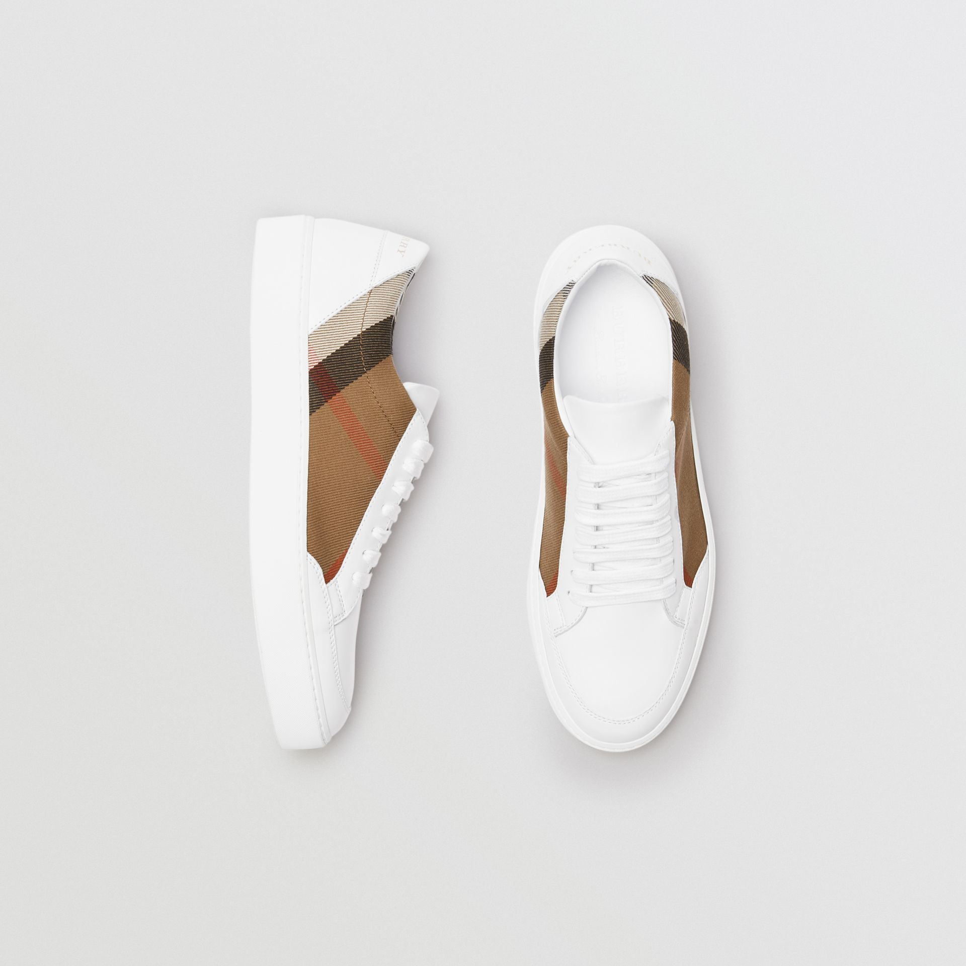 Check Detail Leather Sneakers in House Check/ Optic White - Women | Burberry Australia - gallery image 0