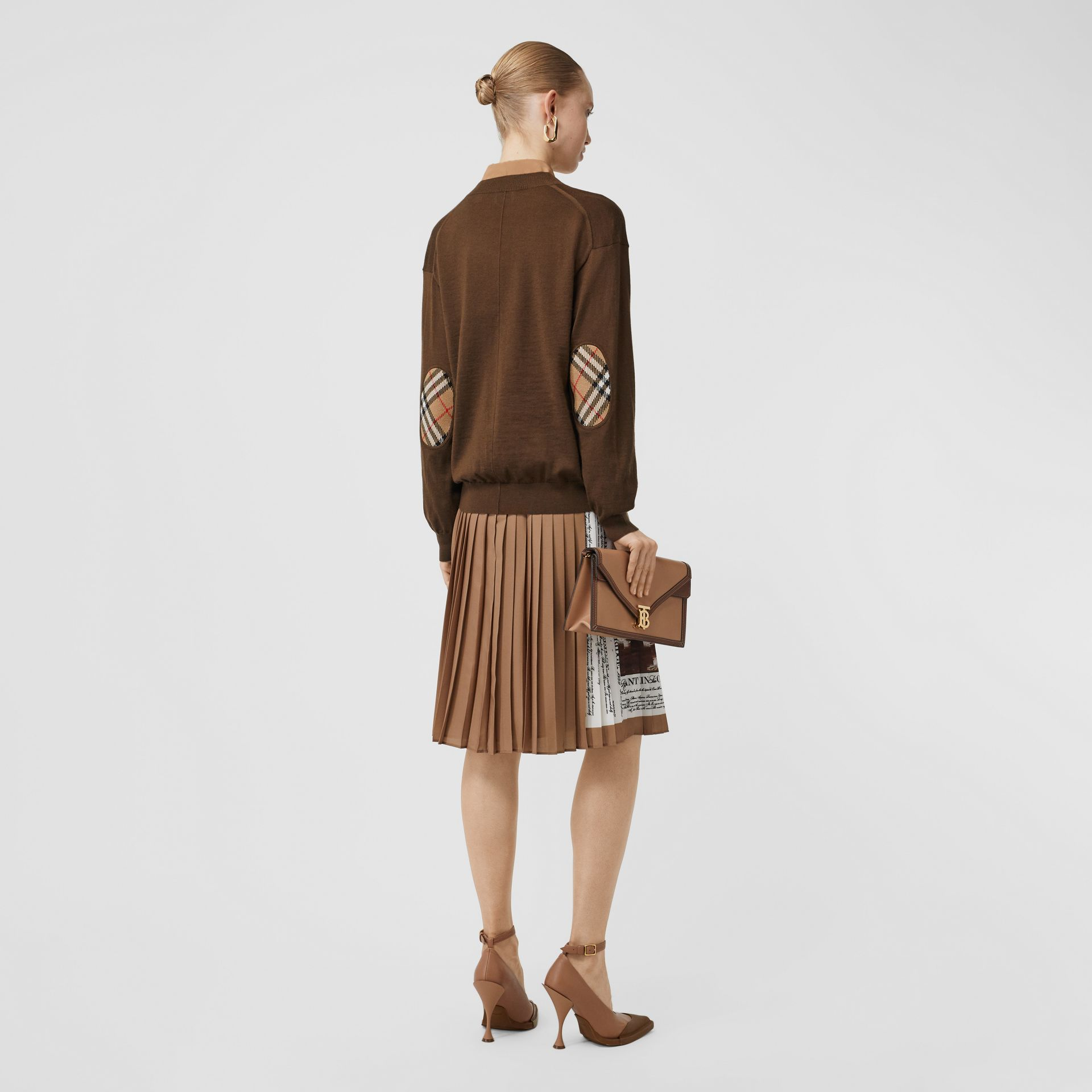 Vintage Check Detail Merino Wool Cardigan in Bridle Brown - Women | Burberry Singapore - gallery image 2