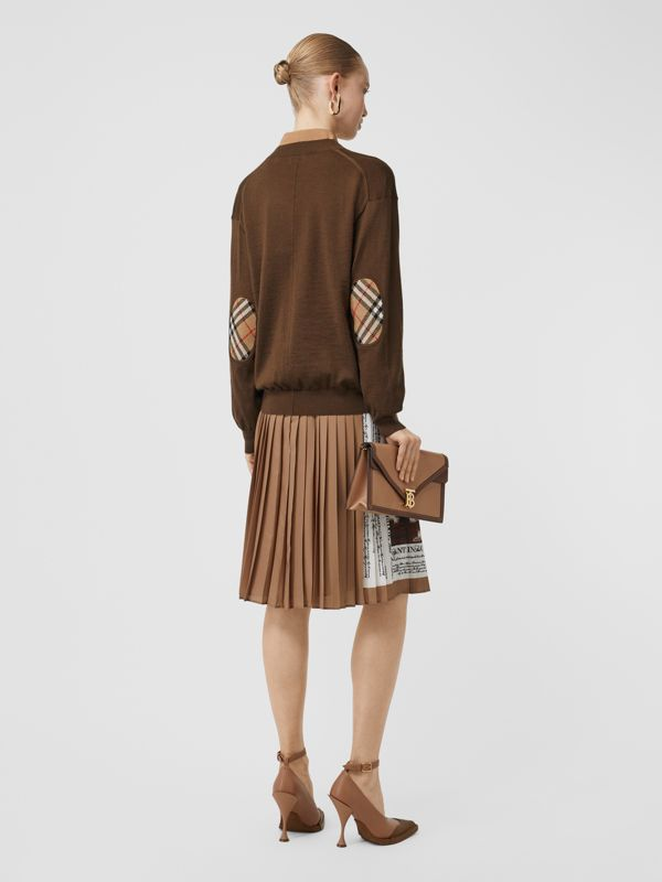 Vintage Check Detail Merino Wool Cardigan in Bridle Brown - Women | Burberry Singapore - cell image 2