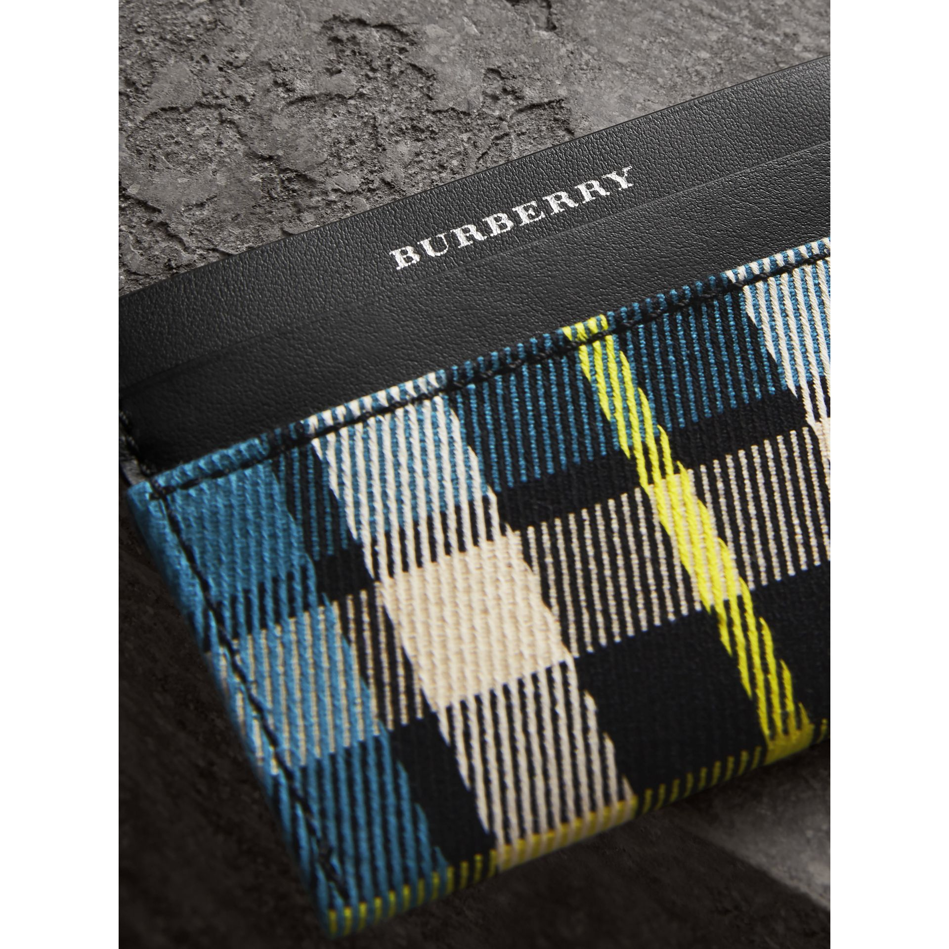 Tartan Check and Leather Card Case in Dark Blue/black | Burberry - gallery image 1