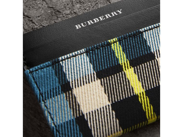 Tartan Check and Leather Card Case in Dark Blue/black | Burberry - cell image 1