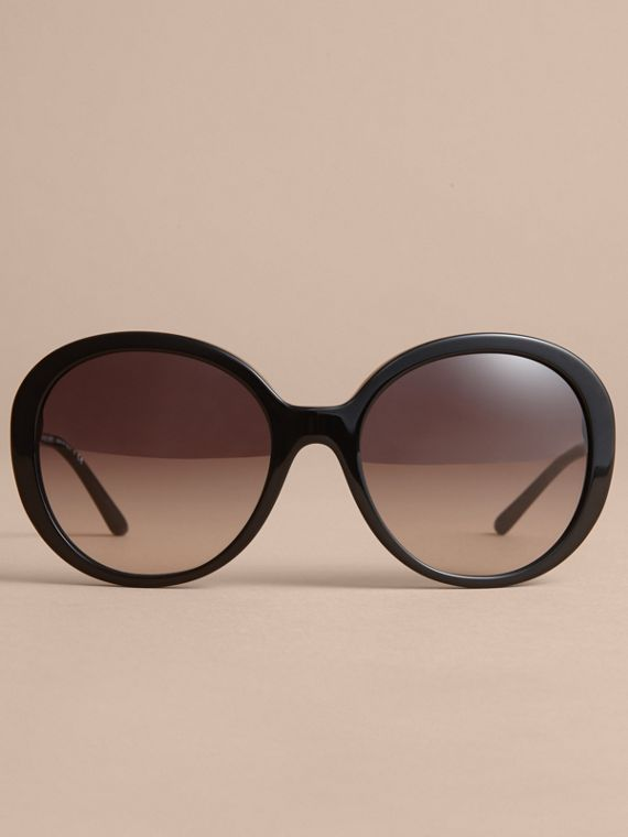 Check Detail Round Frame Sunglasses Black - cell image 2