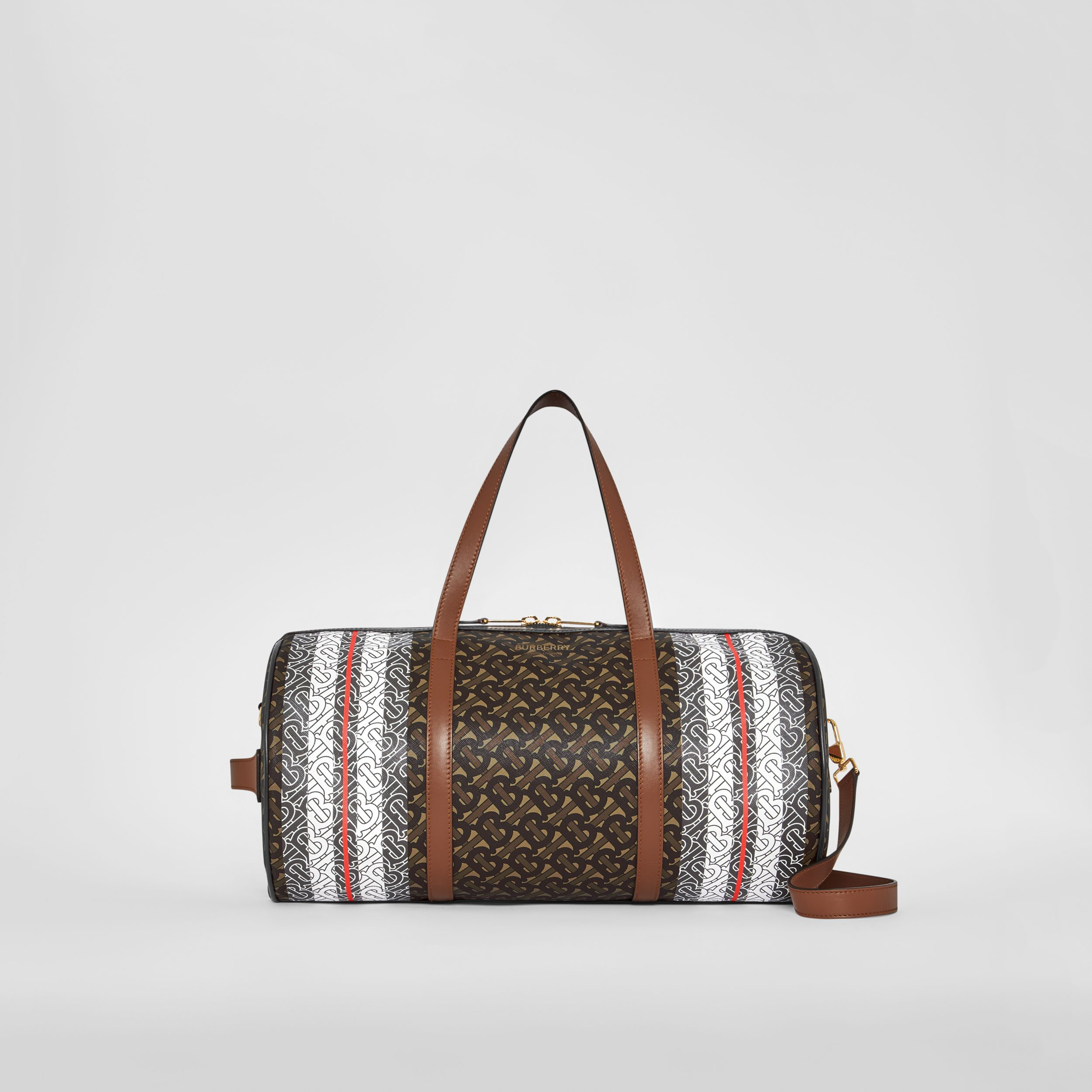 Medium Monogram Stripe E-canvas Barrel Bag in Bridle Brown | Burberry Australia - 1