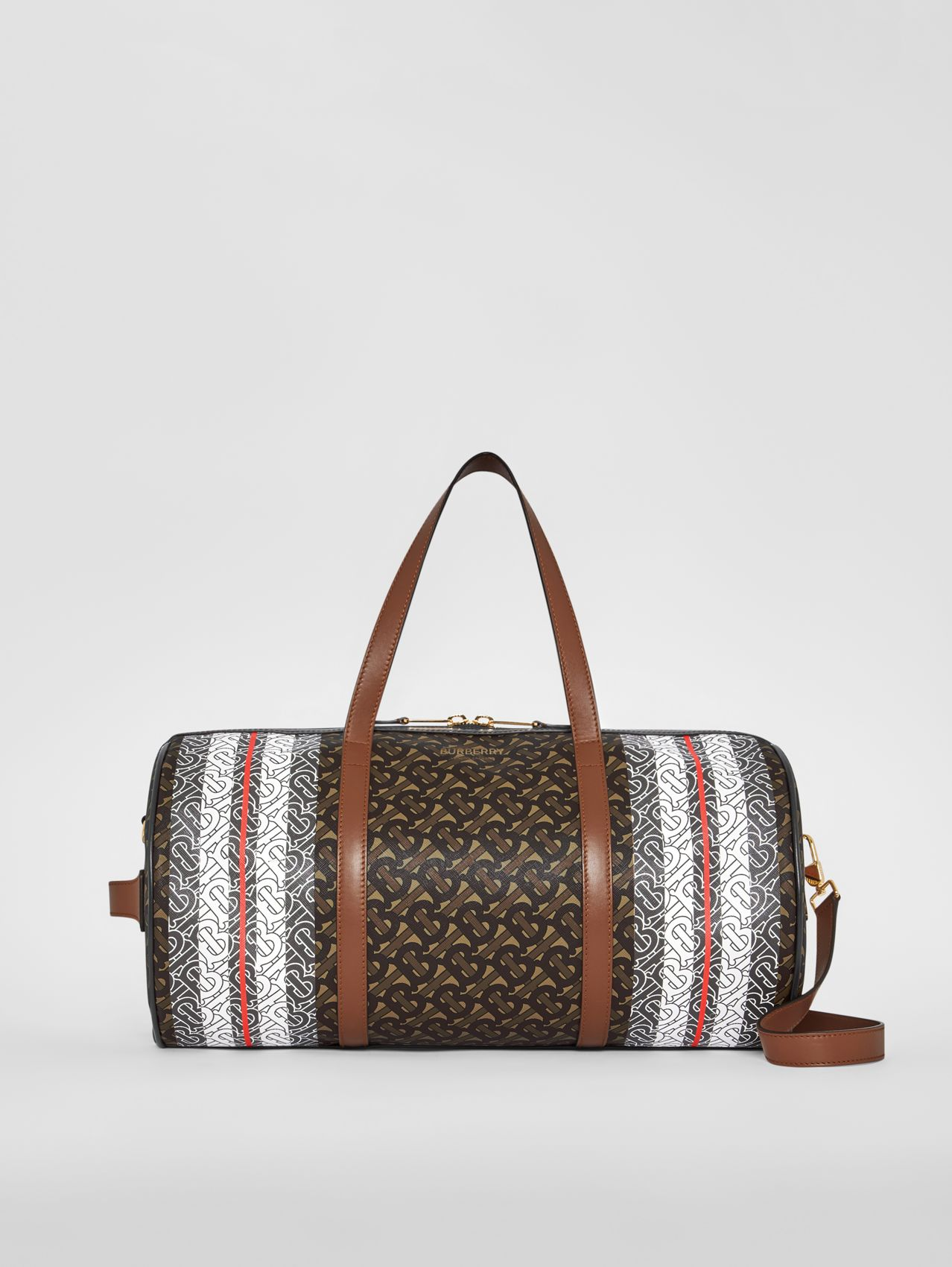 Medium Monogram Stripe E-canvas Barrel Bag (Bridle Brown)