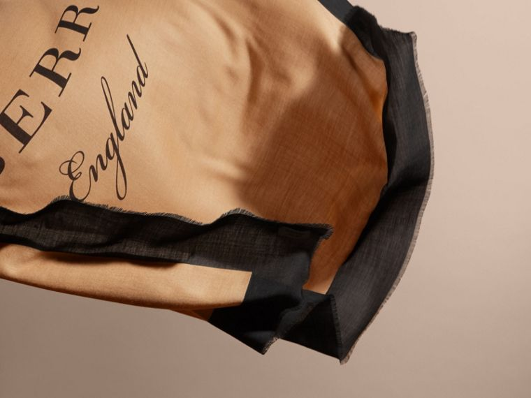 Burberry Print Cashmere Blend Scarf Camel/black - cell image 4