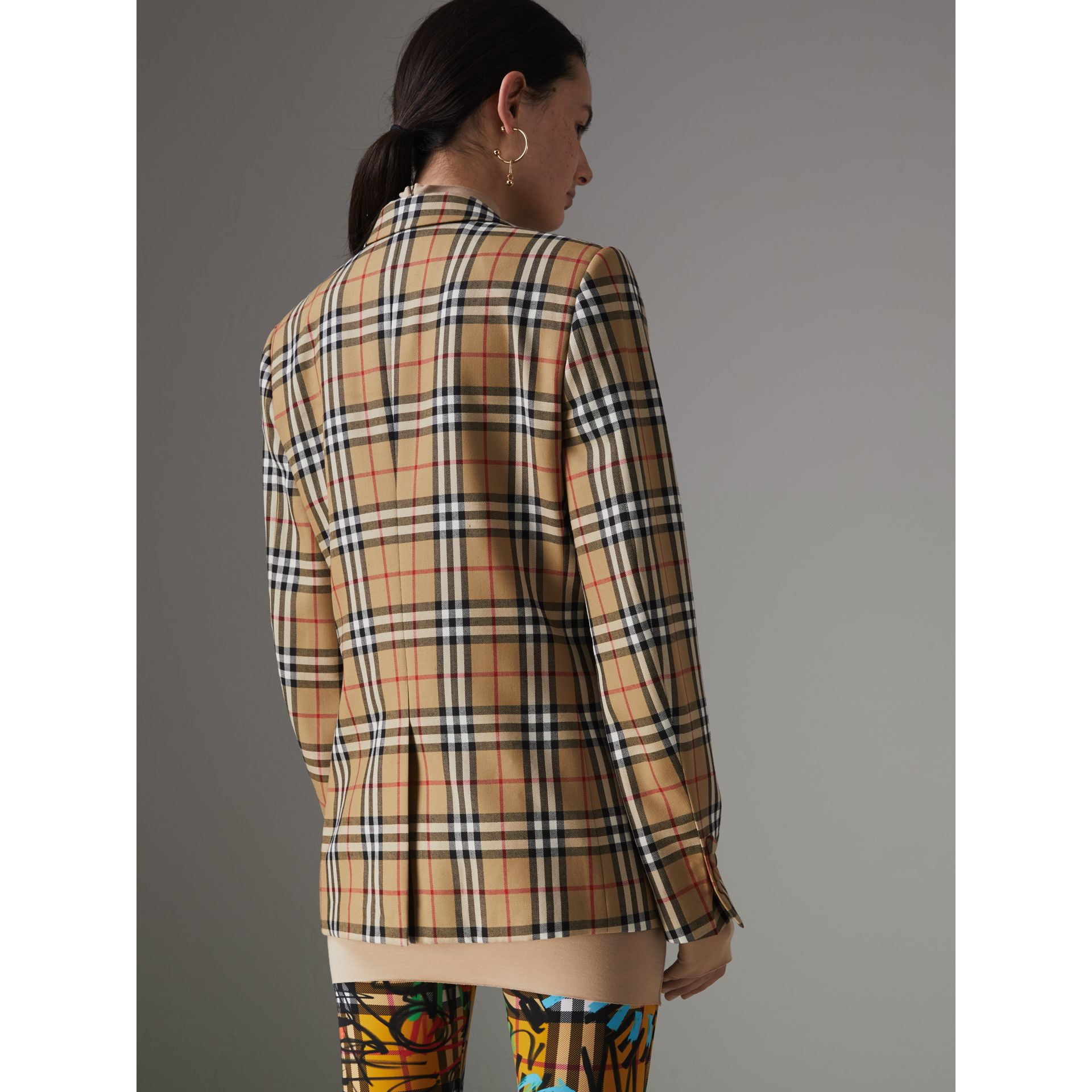 Vintage Check Wool Tailored Jacket in Antique Yellow - Women | Burberry - gallery image 2