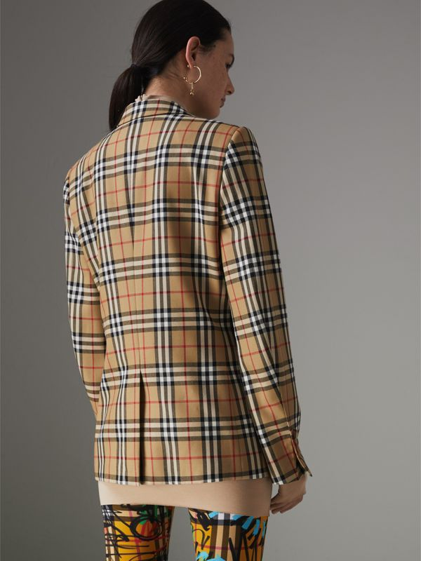 Vintage Check Wool Tailored Jacket in Antique Yellow - Women | Burberry - cell image 2