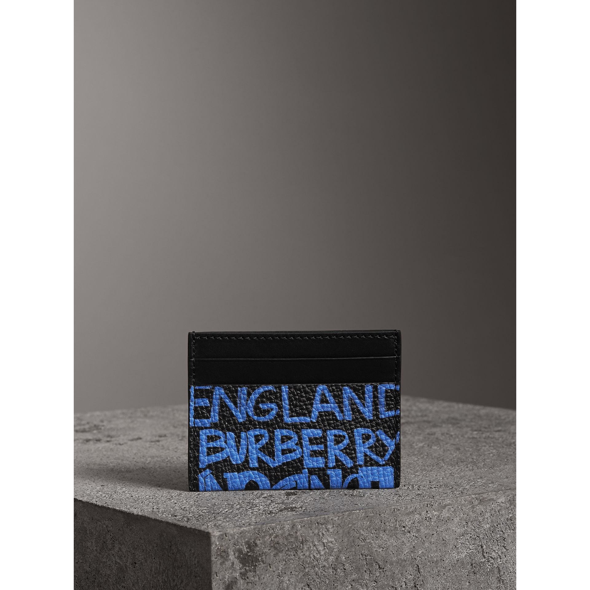 Graffiti Print Leather Card Case in Blue Black - Women | Burberry Australia - gallery image 3