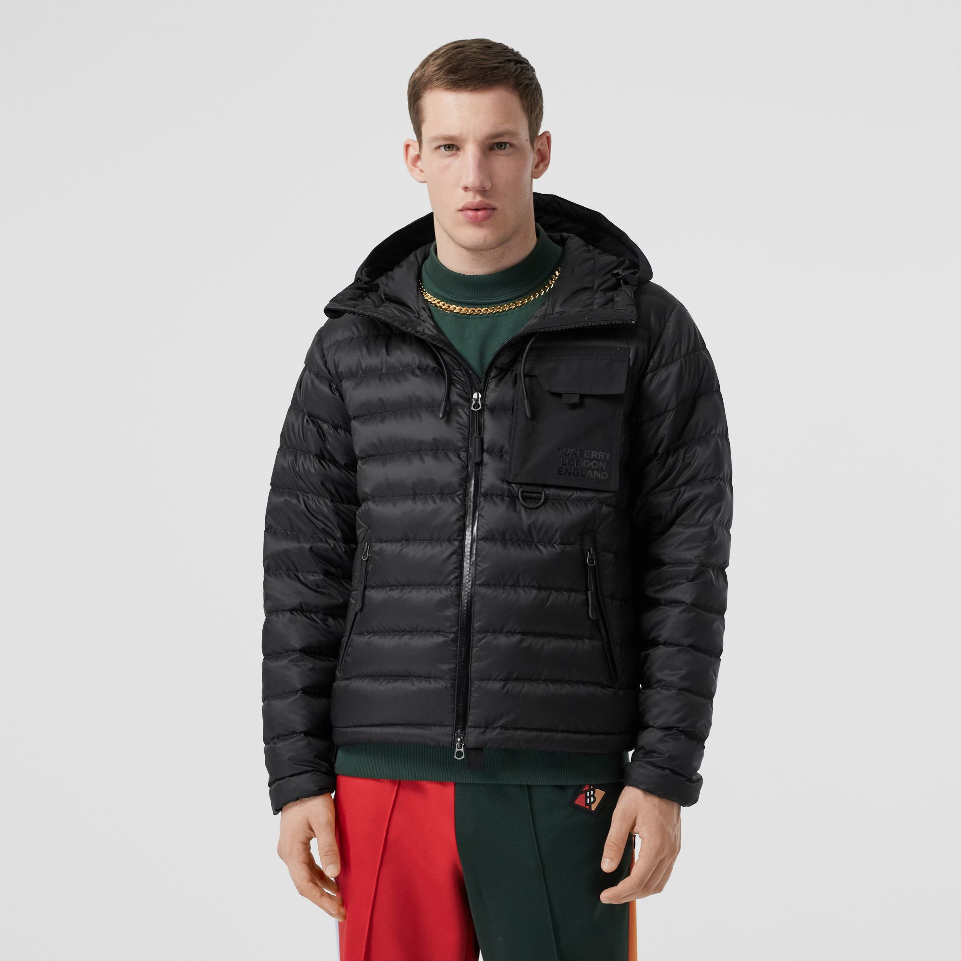 Down-filled Hooded Puffer Jacket in Black - Men | Burberry - gallery image 7