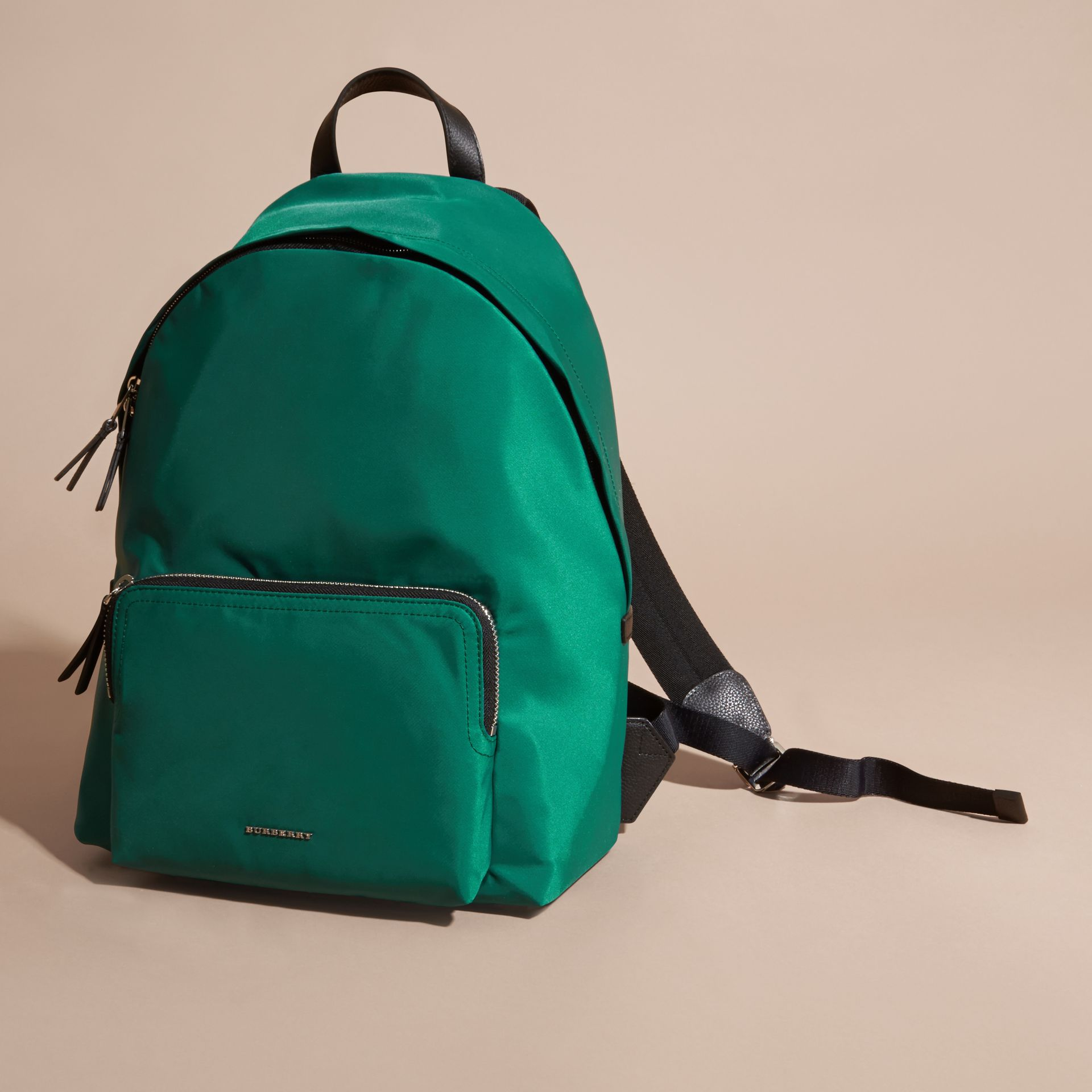 Pine green Leather Trim Nylon Backpack Pine Green - gallery image 7