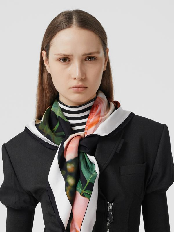 Floral and Logo Print Silk Square Scarf in Rose Pink | Burberry - cell image 2