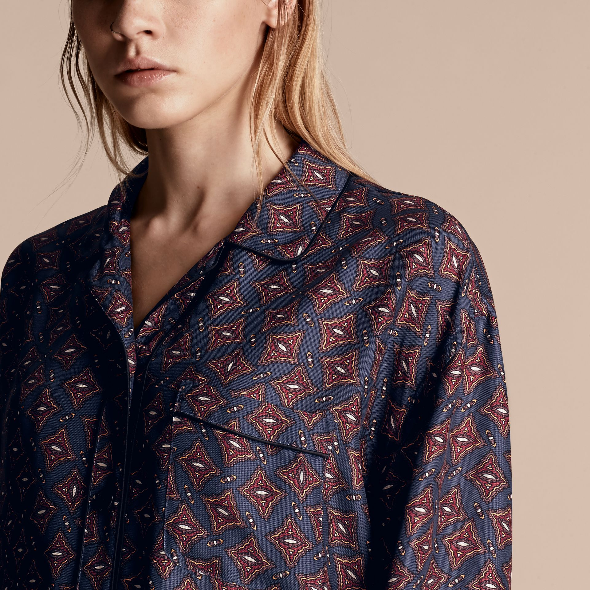 Navy Long-sleeved Geometric Print Silk Pyjama-style Shirt - gallery image 5