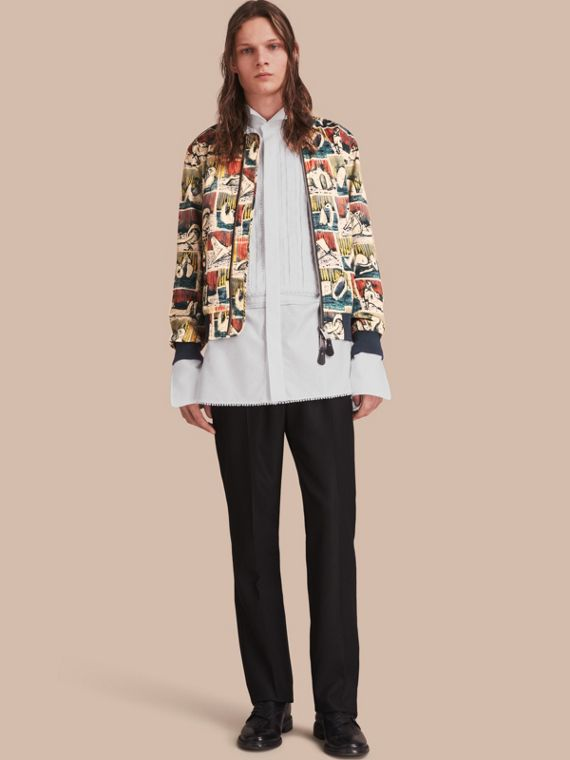 Reclining Figures Print Cotton Bomber Jacket
