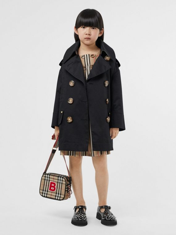 Cotton Twill Hooded Trench Coat in Black