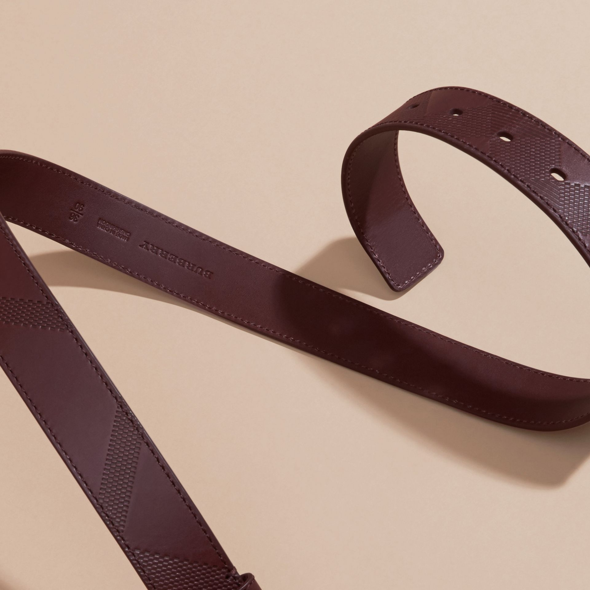 Claret Check-Embossed Leather Belt Claret - gallery image 3