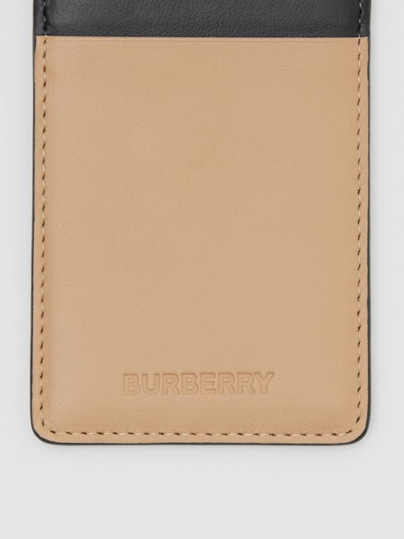 Colour Block Leather Card Case Lanyard in Red/black/beige | Burberry - cell image 1