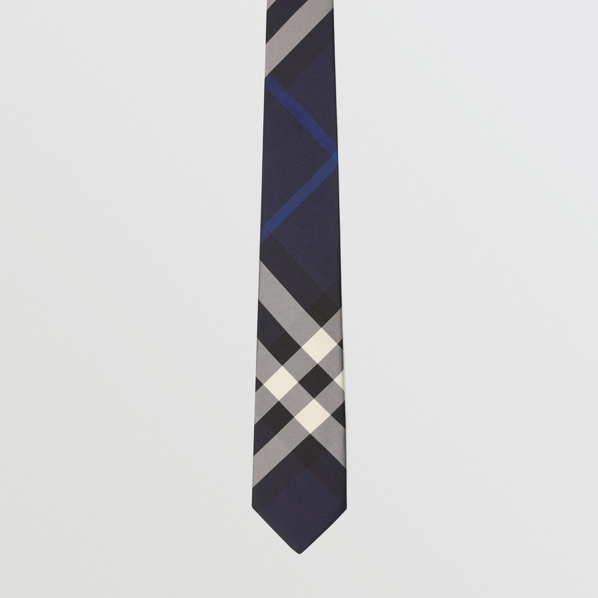 Modern Cut Check Silk Tie in Indigo Blue - Men | Burberry - gallery image 4