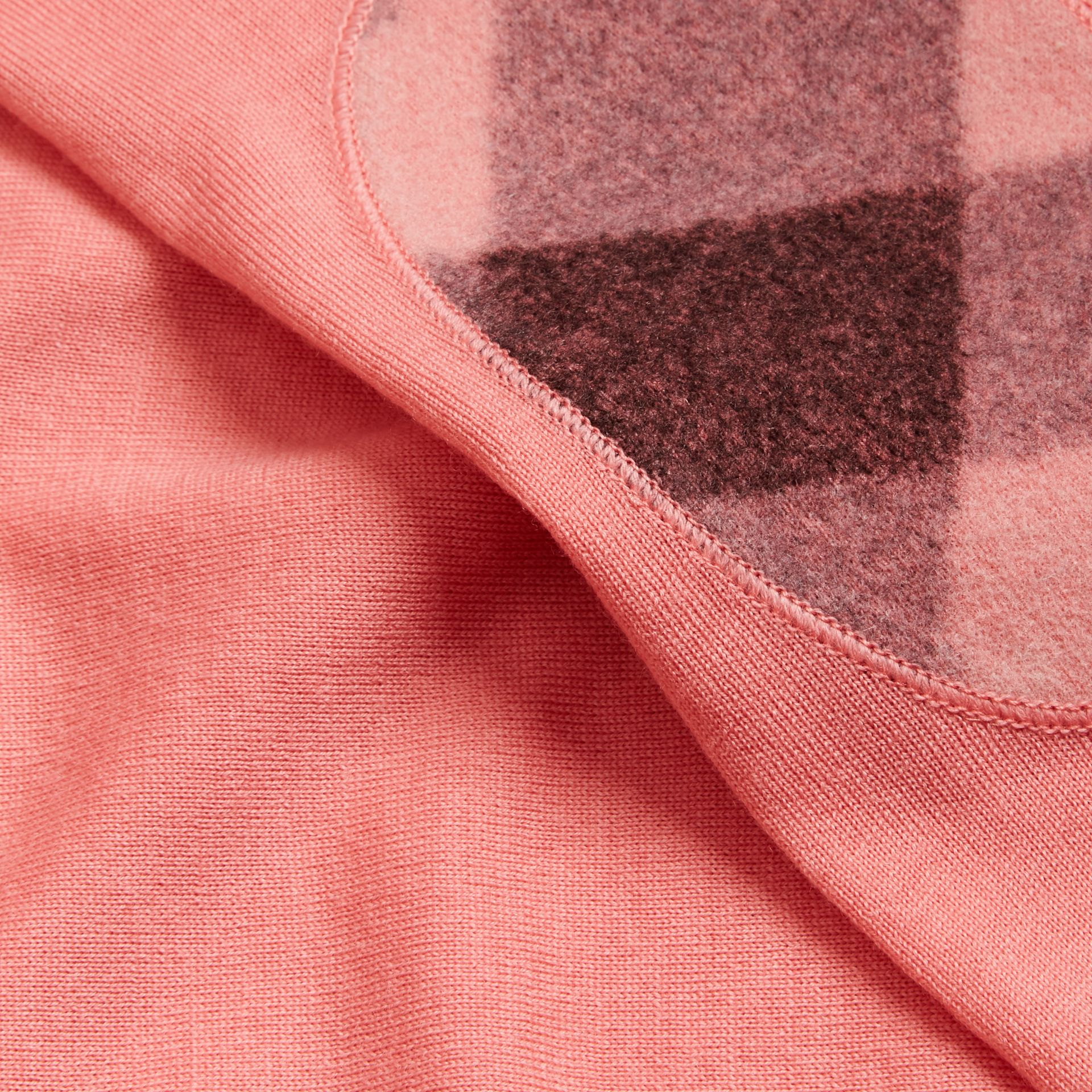 Check Detail Merino Wool Crew Neck Sweater in Pale Rose Pink - Women | Burberry - gallery image 2