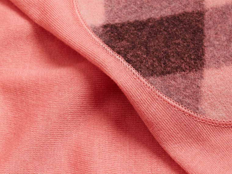 Check Detail Merino Wool Crew Neck Sweater in Pale Rose Pink - Women | Burberry - cell image 1