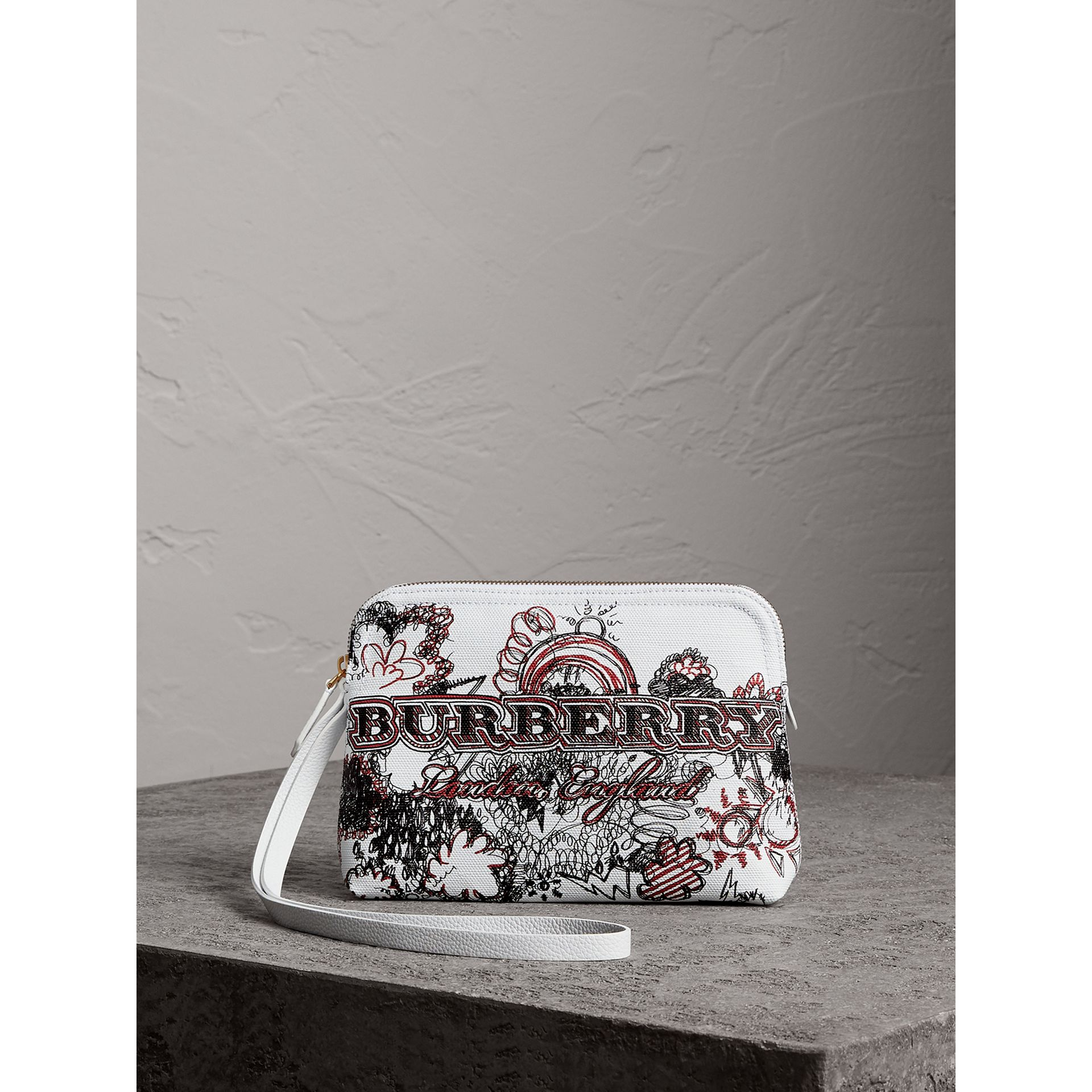 Large Zip-top Doodle Print Coated Canvas Pouch in White/black - Women | Burberry Australia - gallery image 0