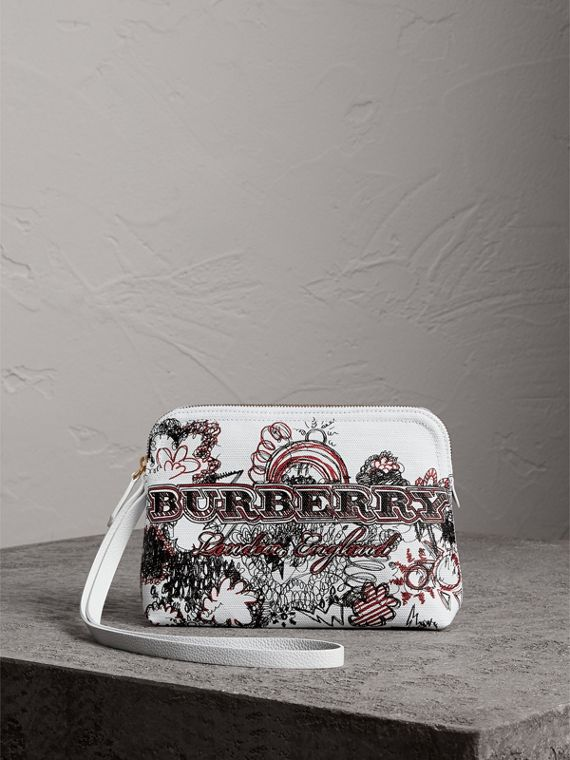 Large Zip-top Doodle Print Coated Canvas Pouch in White/black