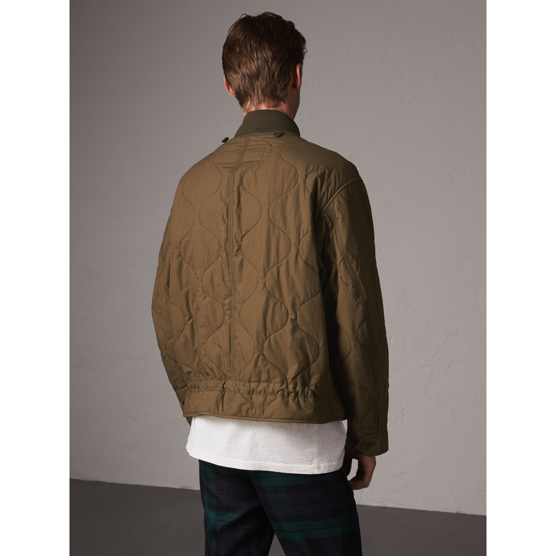 Detachable Hood Quilted Cotton Bomber Jacket in Olive Green - Men | Burberry Canada - gallery image 5