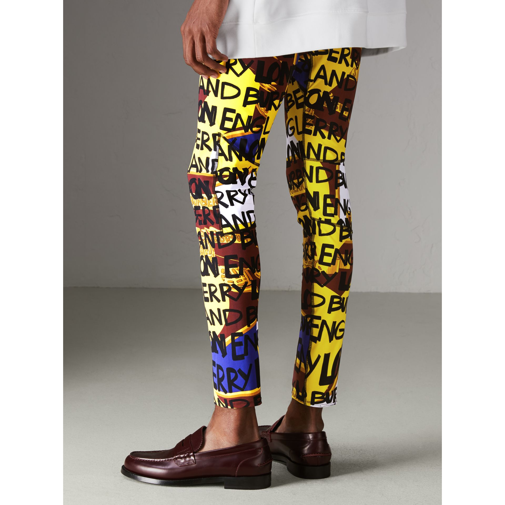 Graffiti Print Leggings in Bright Yellow - Men | Burberry - gallery image 2