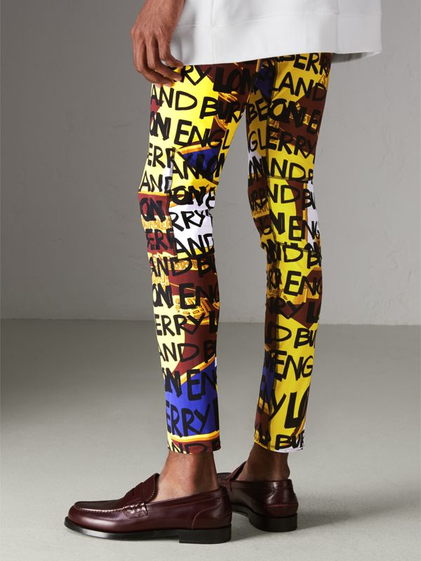 Graffiti Print Leggings in Bright Yellow - Men | Burberry - cell image 2