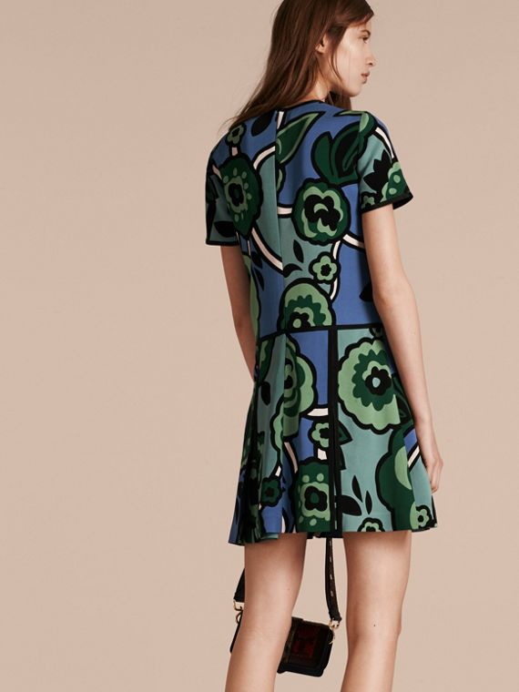 Bright steel blue Graphic Floral Dropped-waist Dress - cell image 2