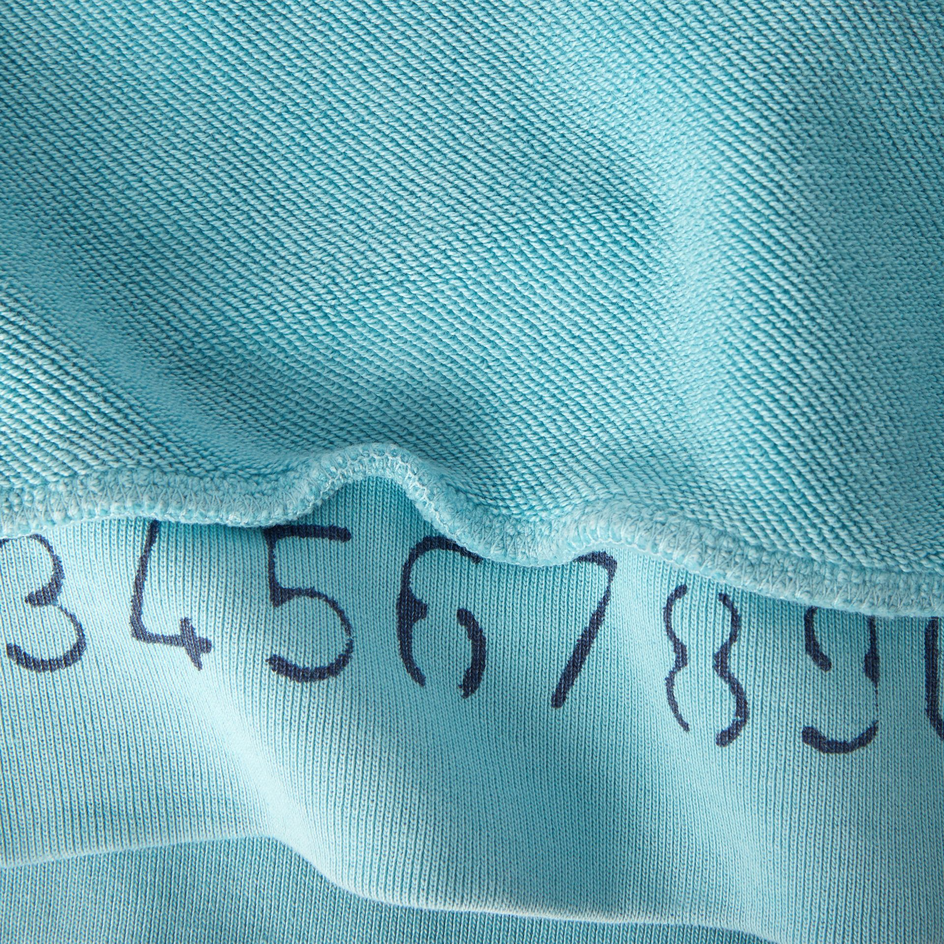 Number Print Cotton Sweatshirt in Bright Cyan Blue | Burberry - gallery image 1