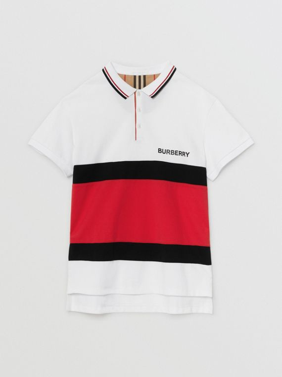 Stripe Panel Cotton Piqué Polo Shirt in White