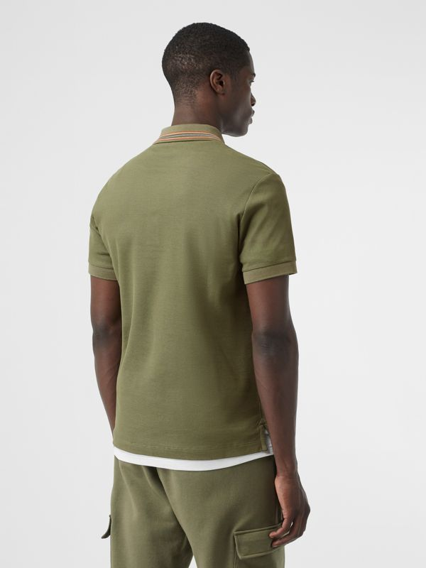 Icon Stripe Detail Cotton Piqué Polo Shirt in Poplar Green - Men | Burberry - cell image 2