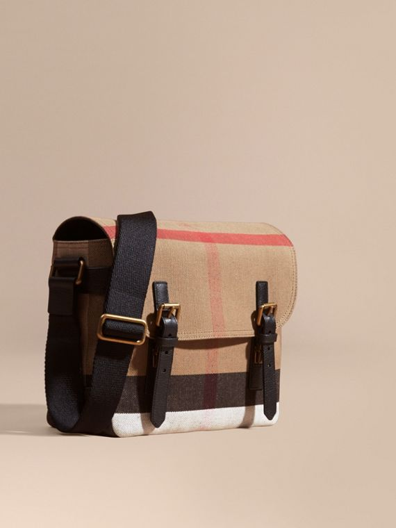 Leather Trim Canvas Check Messenger Bag