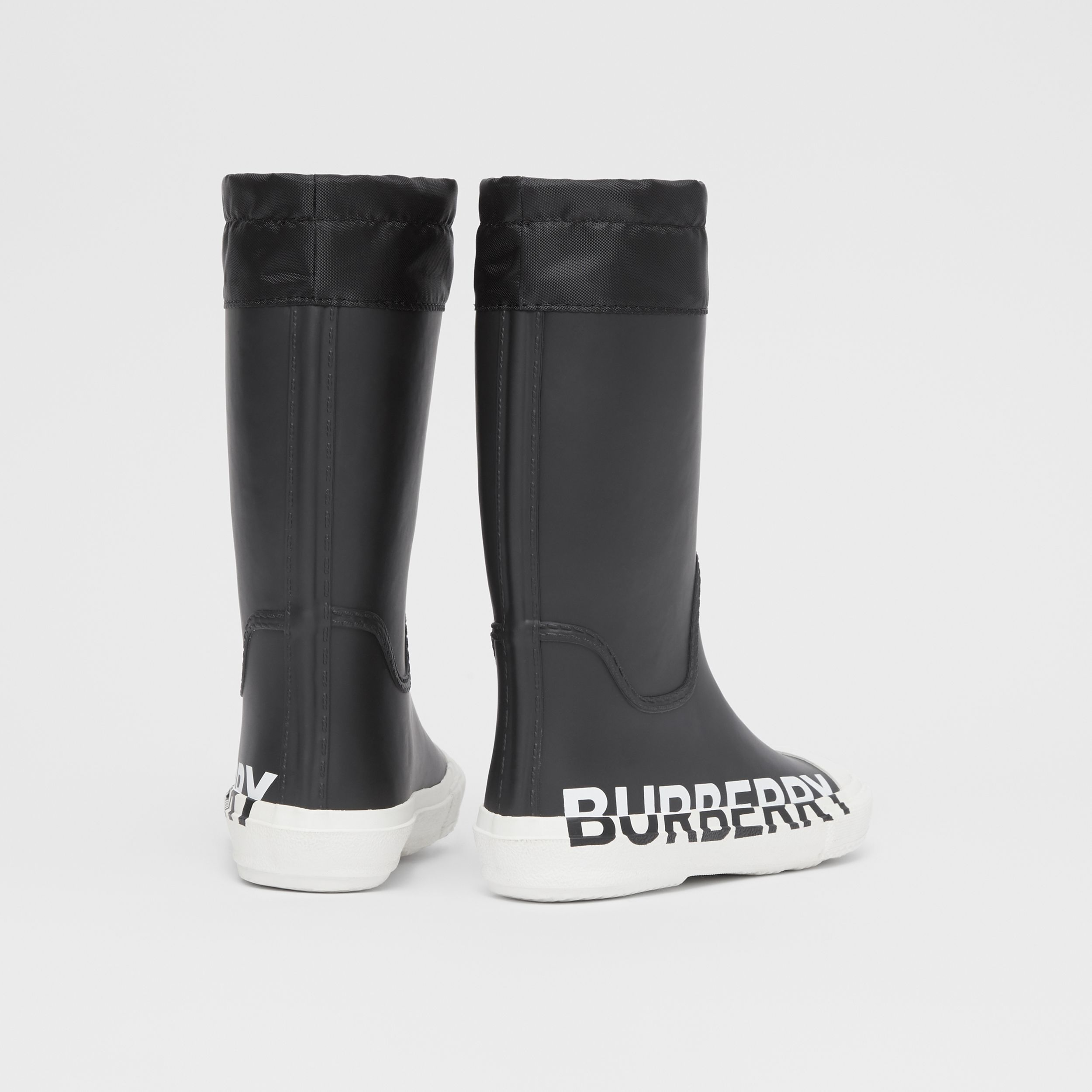 Logo Print Two-tone Rubber Rain Boots in Black - Children | Burberry - 3