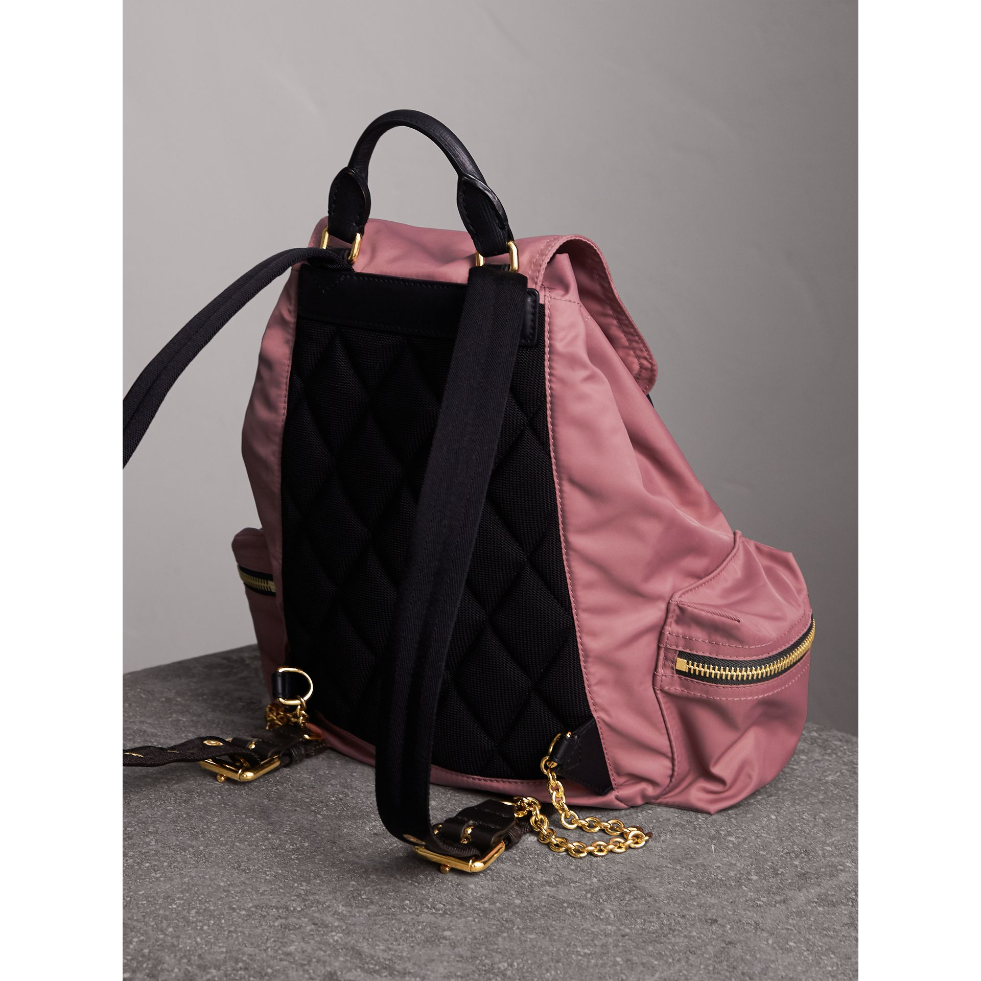 The Medium Rucksack in Technical Nylon and Leather in Mauve Pink - Women | Burberry United Kingdom - gallery image 3