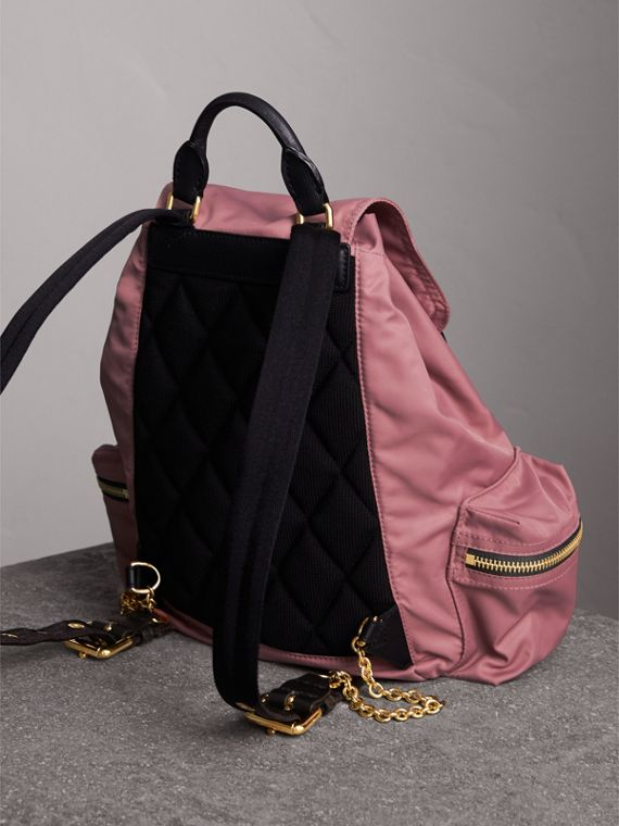 The Medium Rucksack in Technical Nylon and Leather in Mauve Pink - Women | Burberry - cell image 3