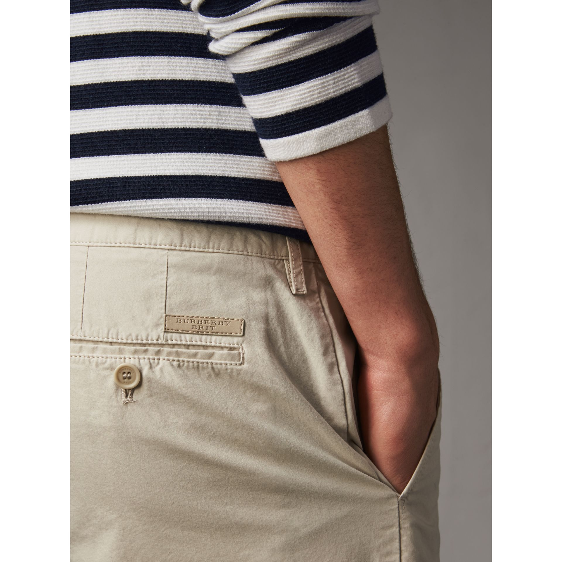 Cotton Poplin Chino Shorts in Stone - Men | Burberry United Kingdom - gallery image 1