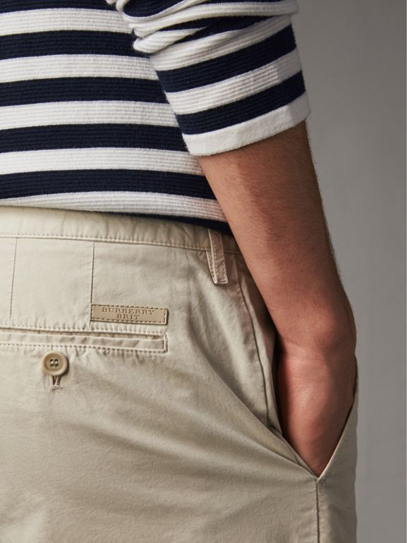 Cotton Poplin Chino Shorts in Stone - Men | Burberry United Kingdom - cell image 1