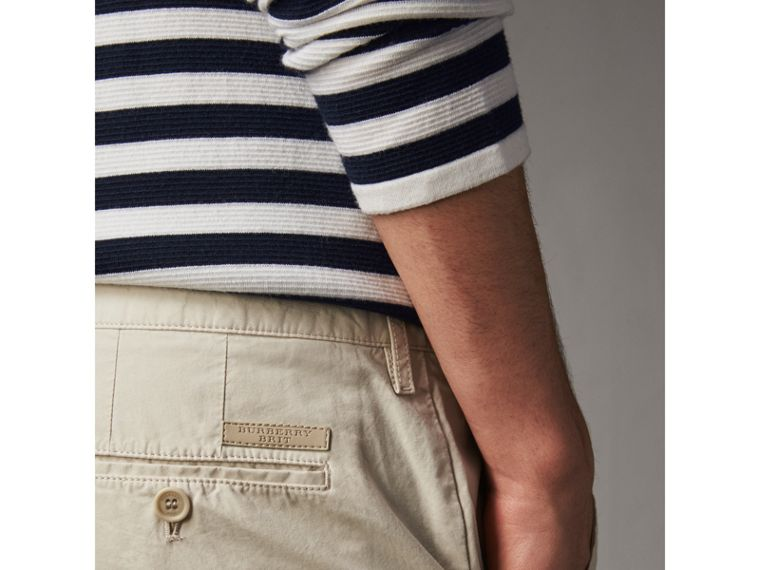 Cotton Poplin Chino Shorts in Stone - Men | Burberry - cell image 1
