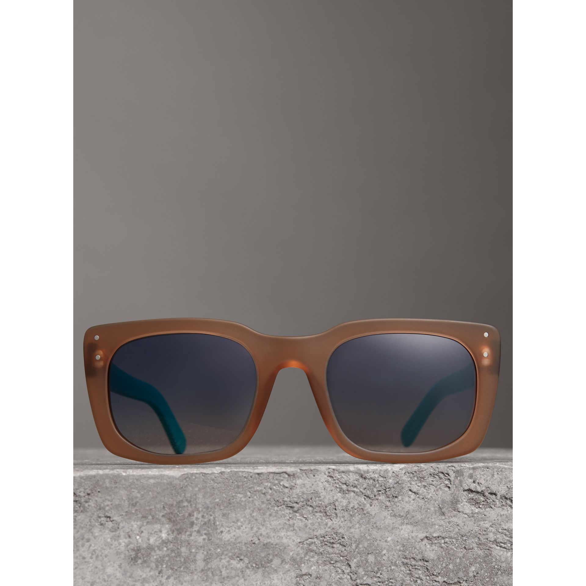Square Frame Sunglasses in Nude - Women | Burberry - gallery image 3