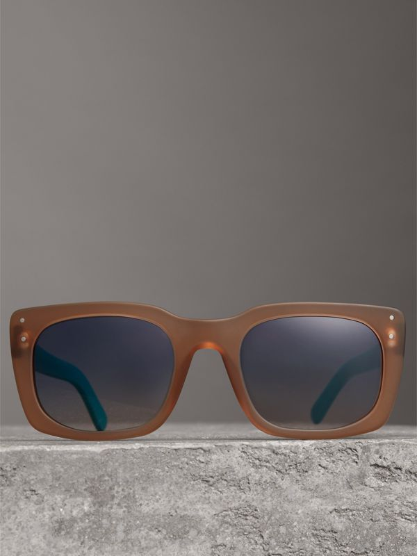 Square Frame Sunglasses in Nude - Women | Burberry - cell image 3