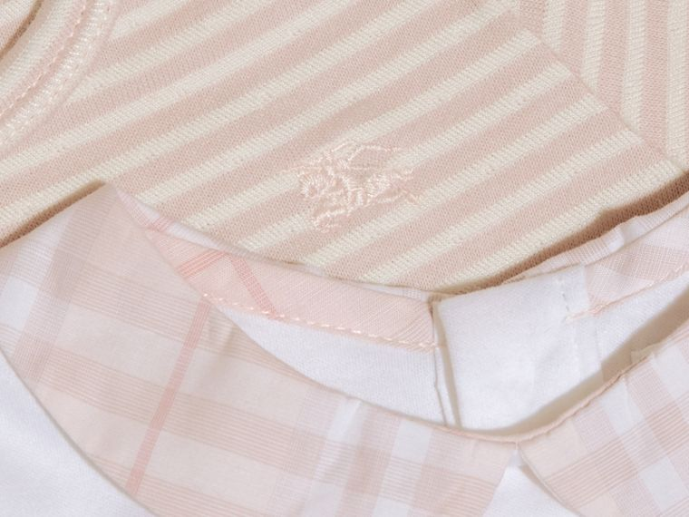Patterned Cotton Blend Three-piece Baby Gift Set in Powder Pink - Children | Burberry - cell image 1