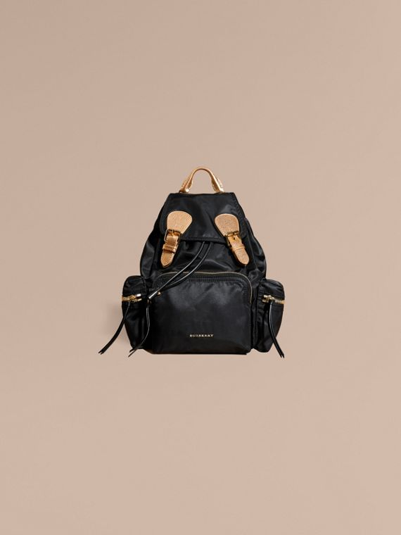 Black/gold The Medium Rucksack in Two-tone Nylon and Leather Black/gold - cell image 2