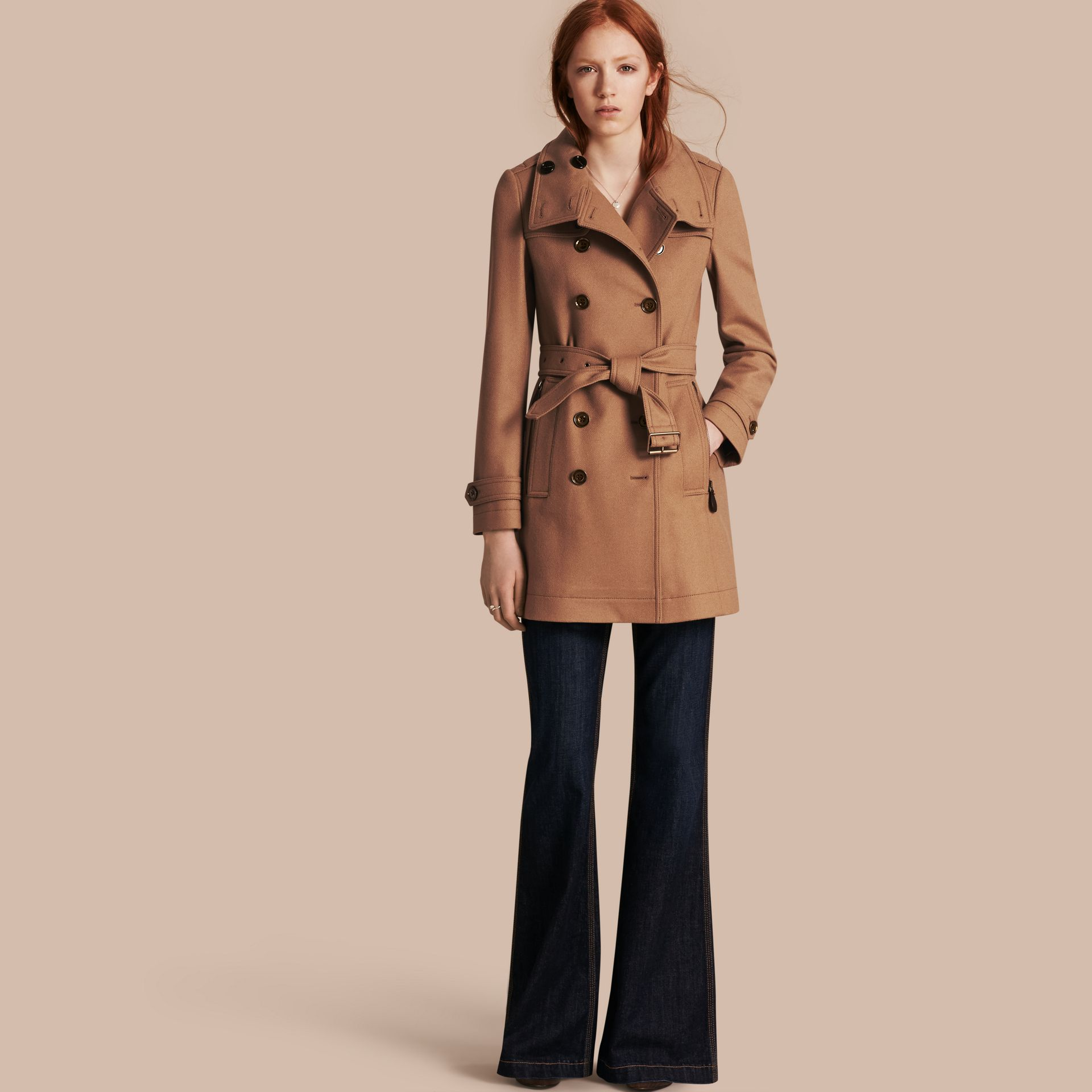 Camel Short Double Wool Twill Trench Coat Camel - gallery image 1