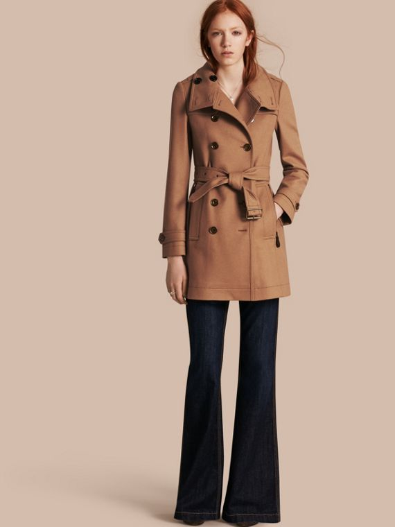 Short Double Wool Twill Trench Coat Camel