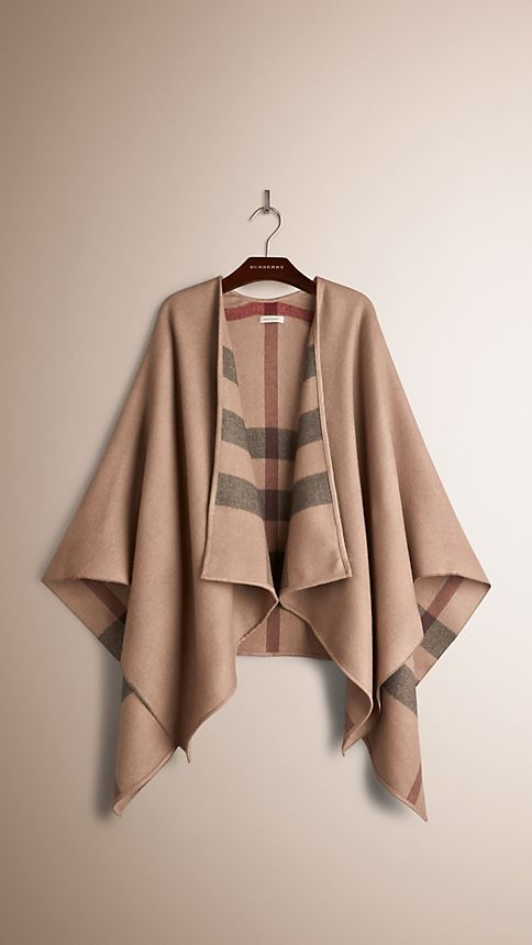 Smoked trench check Check-Lined Wool Poncho - Image 3